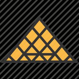 landmark, louvre, pyramid, travel icon