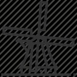 country, kinderdijk, landmark, windmills icon