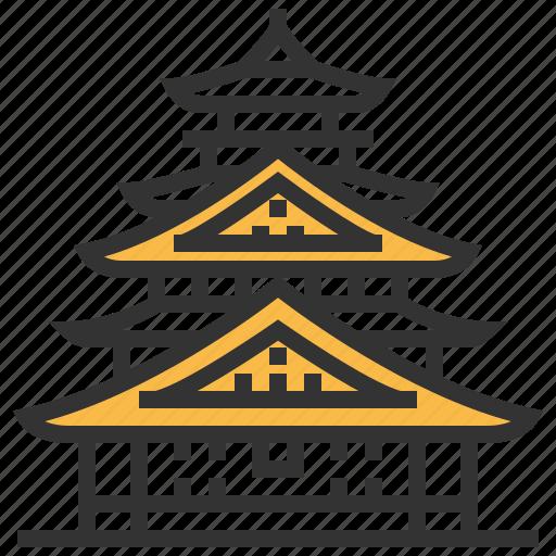 architecture, building, castle, landmark, osaka icon