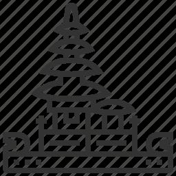 bratan, building, danu, famous, landmark, pura, ulun icon