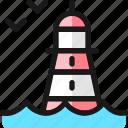 lighthouse, bird