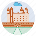 castle, england, fortress, landmark, royal palace, tower of london icon