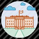 landmark, president, residence, united states, washington dc, white house icon