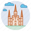 basilica, church, landmark, new orleans, roman catholic, st louis cathedral icon