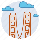 bay, california, connecting, golden gate, landmark, san francisco, suspension bridge icon