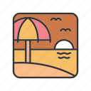 beach, landscape, seashore, sunset, umbrella icon