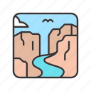 canyon, landscape, river, rock, stone icon