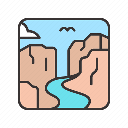 canyon, landscape, river, rock, stone icon