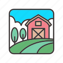 agriculture, barn, farm, field, landscape icon