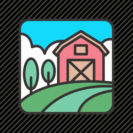 agriculture, barn, farm, field, landscape icon