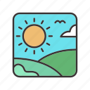 green, hills, landscape, meadows, nature, sun icon