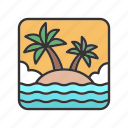 island, landscape, ocean, palm, sea, trees icon