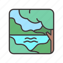 forest, jungle, lake, landscape, trees icon