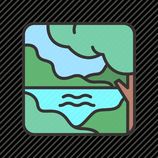 forest, jungle, lake, landscape, trees icon