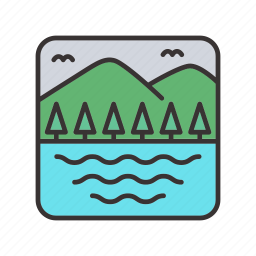 lake, landscape, meadows, mountain, trees icon