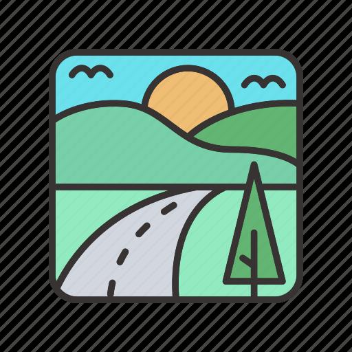 landscape, meadows, mountain, road, scenery, street, sun, tree icon