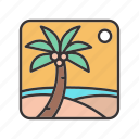 halucination, hot, landscape, oasis, palm, sun, trees icon