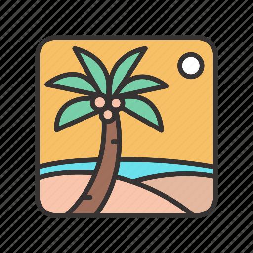 halucination, hot, landscape, oasis, palm, sun, trees icon