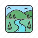 hills, landscape, meadows, rivers, trees icon