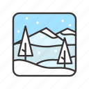 christmas, landscape, snow, snowflakes, winter icon