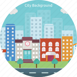 background, building, city, construction, population, street, town icon