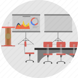 background, business, conference, discussion, meeting, office, presentation icon