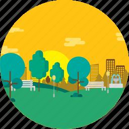background, flower, garden, nature, plant, public, tree icon