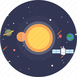 background, galaxy, planet, satellite, solar system, space, universe icon