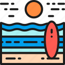 beach, field, landscape, nature, outdoor, sea, surfing