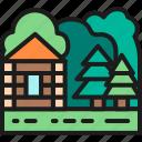field, forest, house, illustration, landscape, nature, tree