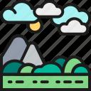 field, hill, illustration, landscape, mountain, rocky, tree