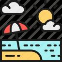 beach, field, landscape, resort, sand, sea, umbrella