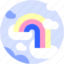 circle, cloud, flat icon, landscape, rainbow, sky icon