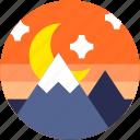 circle, dusk, flat icon, landscape, moon, mountain