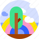 circle, cloud, flat icon, landscape, rainbow, tree icon