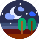 circle, flat icon, landscape, moon, night, star icon