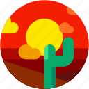 cactus, circle, desert, dusk, landscape, sunrise, sunset icon