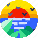 beach, circle, flat icon, landscape, sea bird, tourism, tropical icon