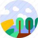 circle, flat icon, forest, landscape, leaf, trees, tropical icon