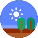 circle, flat icon, forest, landscape, sunny, trees icon