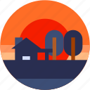 circle, flat icon, house, landscape, village icon