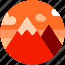 circle, dusk sky, flat icon, landscape, mountain icon