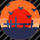 beach, circle, flat icon, landscape, sea, sea bird icon