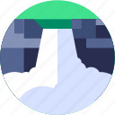 circle, flat icon, landscape, water, waterfall icon