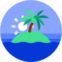 beach, circle, flat icon, island, landscape, sea, tropical icon