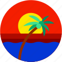 beach, circle, coconut tree, flat icon, landscape, sunrise, sunset