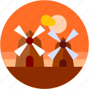 circle, europe, flat icon, holland, landscape, tourism, windmill icon