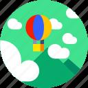 baloon, circle, flat icon, landscape, tourism, transportation icon