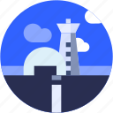 air traffic controller, airport, circle, flat icon, flight, hangar, landscape