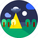 alien, circle, flat icon, landscape, space craft, ufo icon
